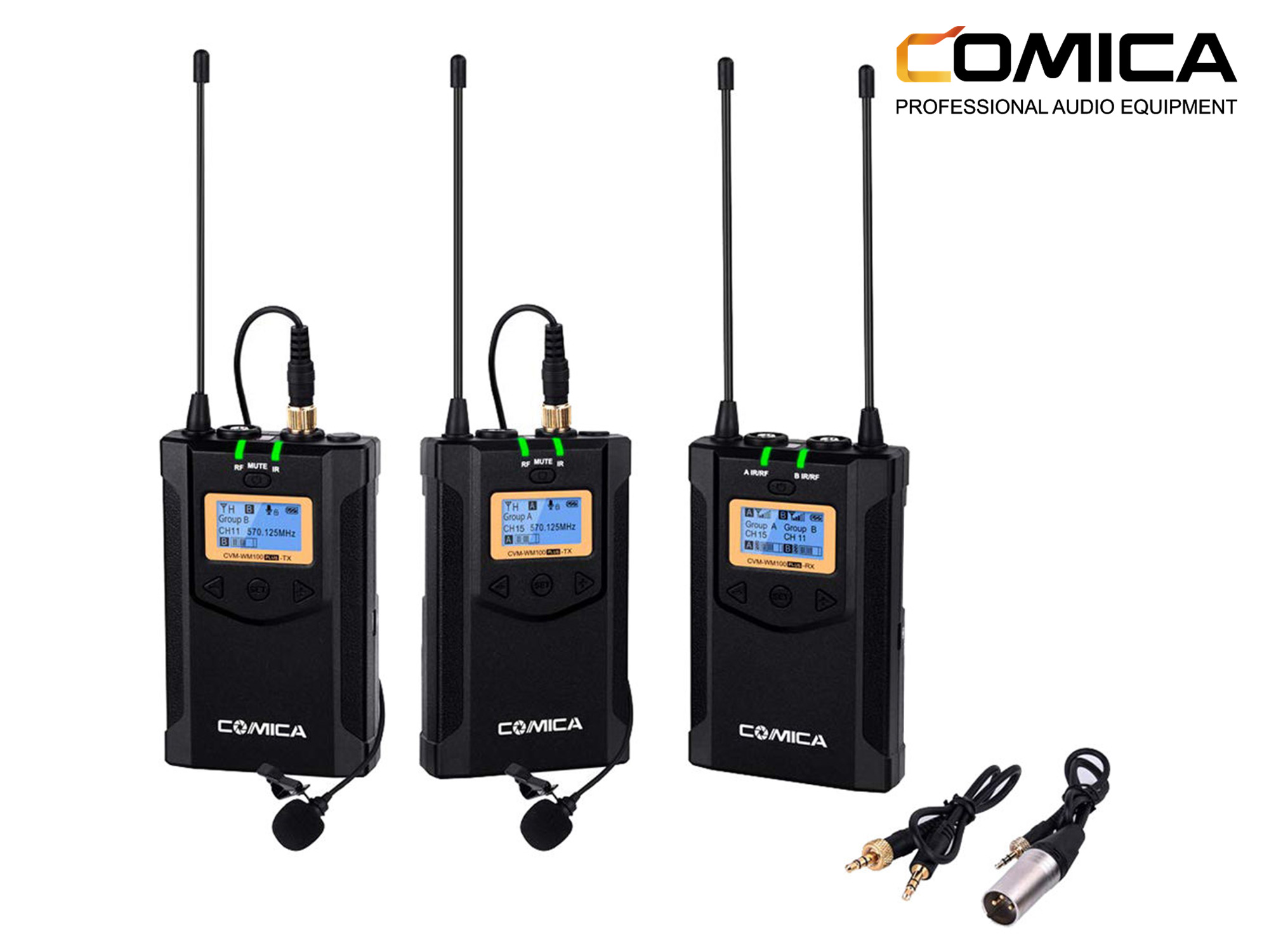 Comica Audio CVM-WM100 PLUS 2-Person Camera-Mount Wireless Omni Lavalier Microphone System