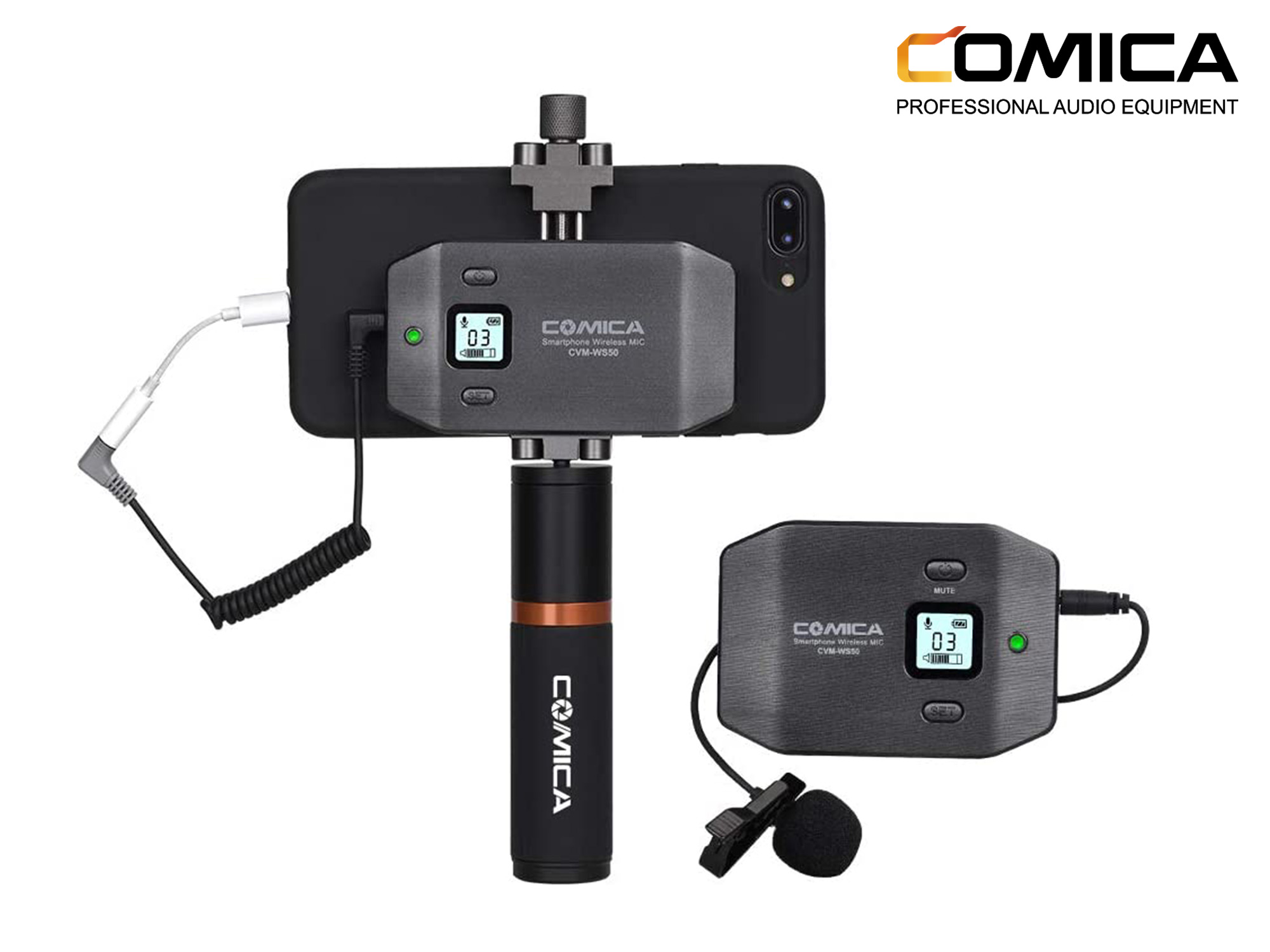 Comica 6-Channel UHF Wireless Smartphone Lavalier Microphone System with Phone Grip