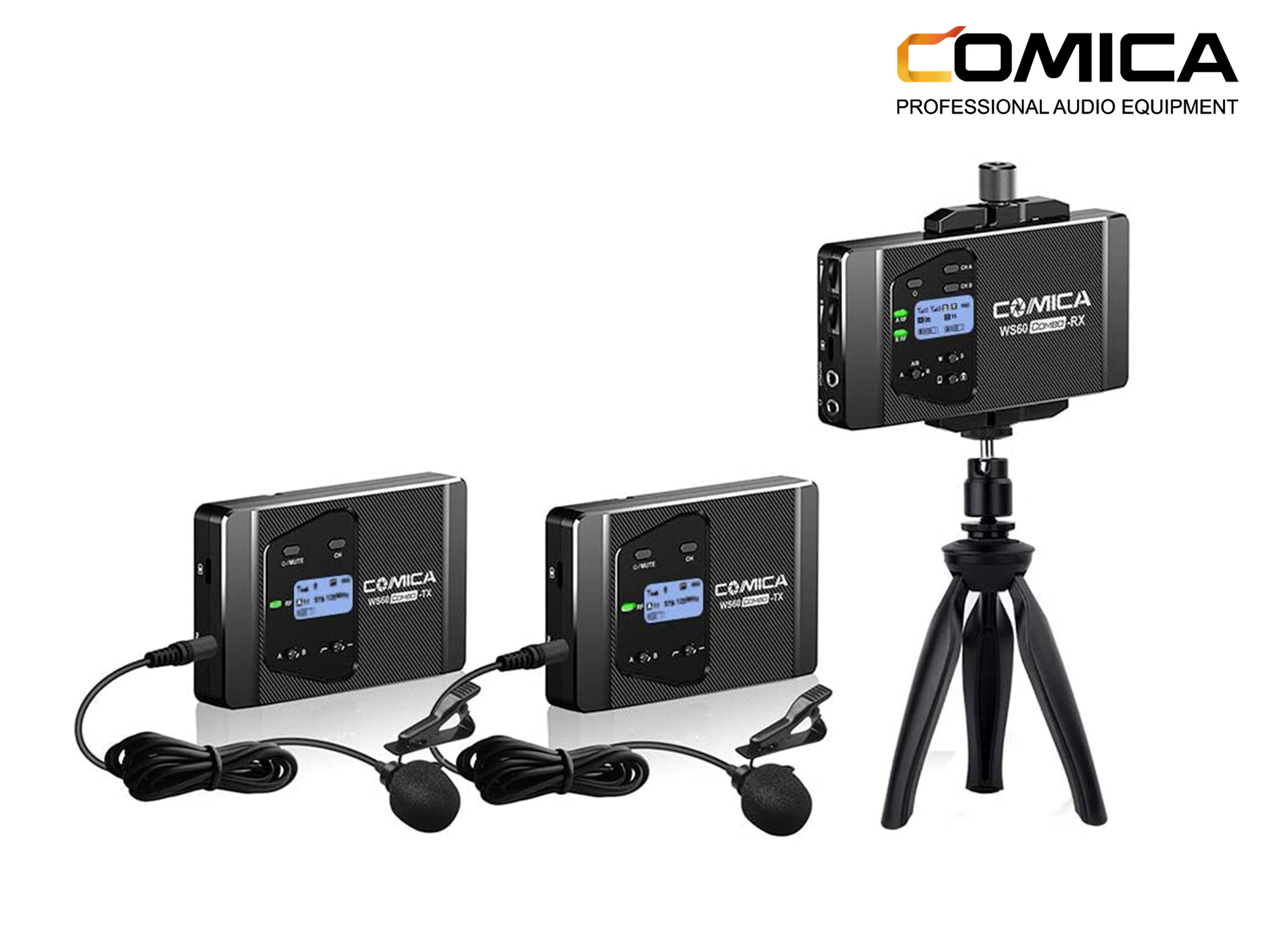 Comica Audio CVM-WS60 COMBO 2-Person Wireless Lavalier Microphone System for Smartphones/Cameras