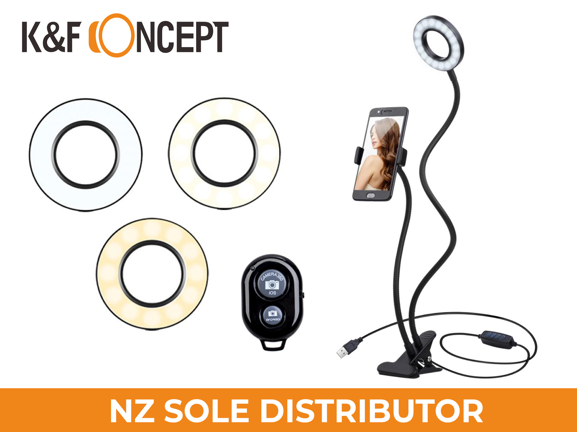 "K&F Concept 11"" Selfie Ring Light w/ Stand Phone Holder"
