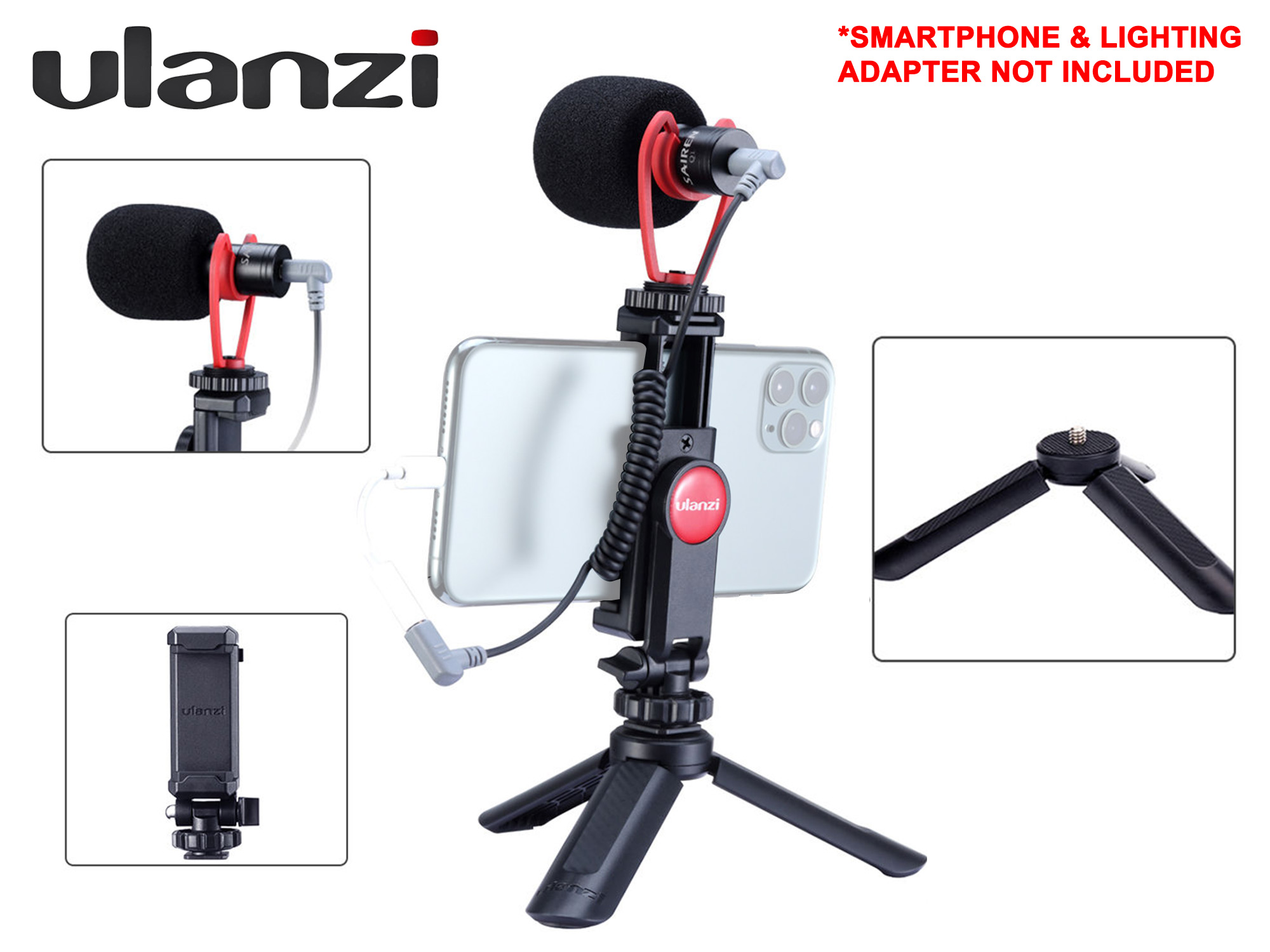 Ulanzi Vlogging Kit - Microphone + Mini Tripod + Phone Mount