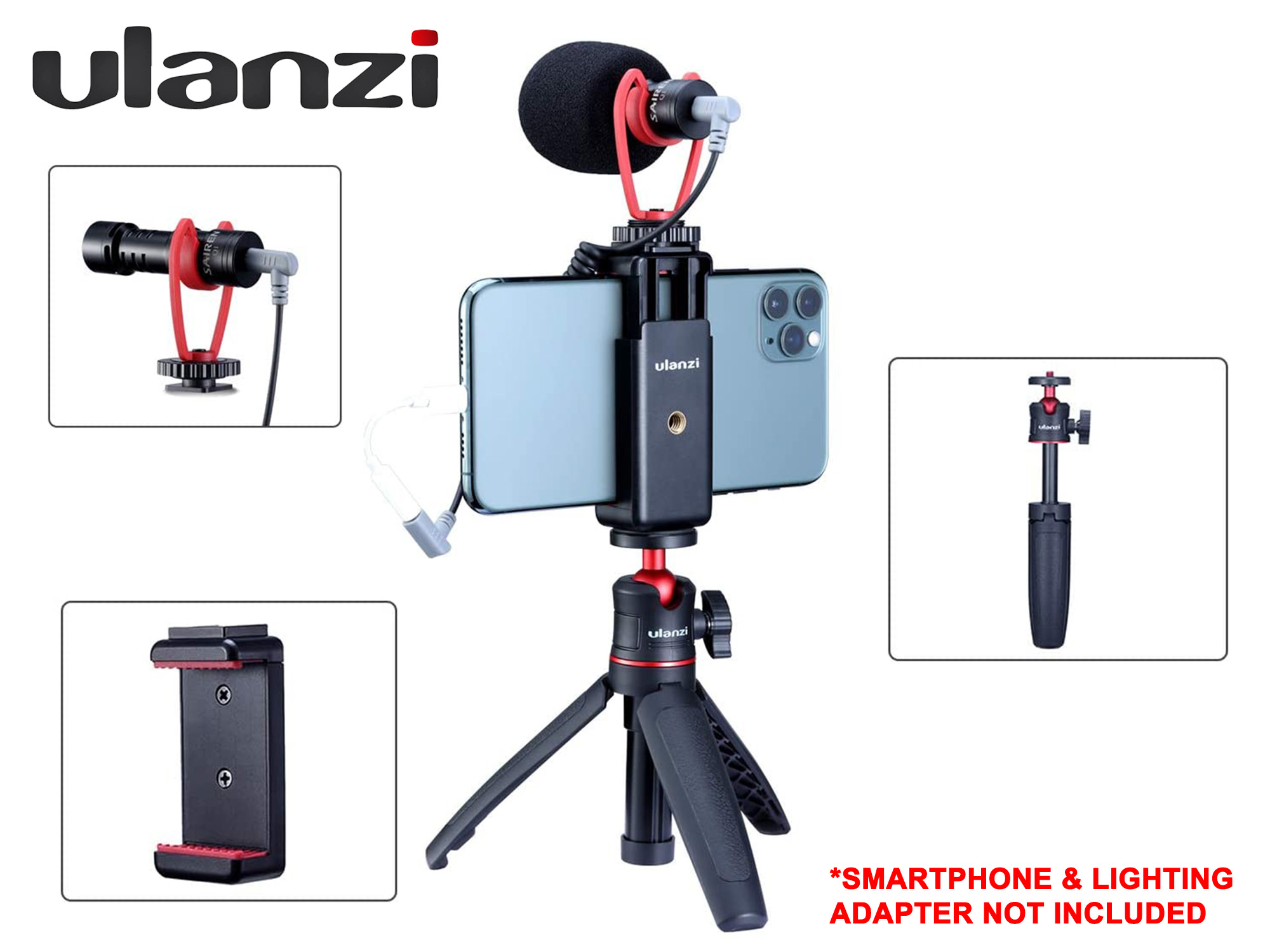 Ulanzi Vlogging Kit - Microphone + Mini Extendable Tripod + Phone Mount