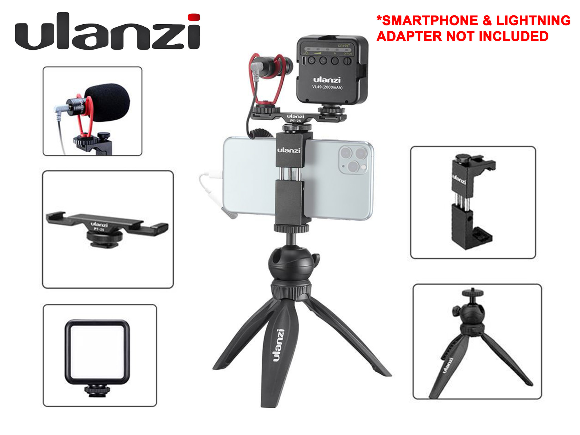 Ulanzi Vlogging Kit - Phone Mount + Tripod MT-03 + Double Cold Shoe + Video Light + Microphone
