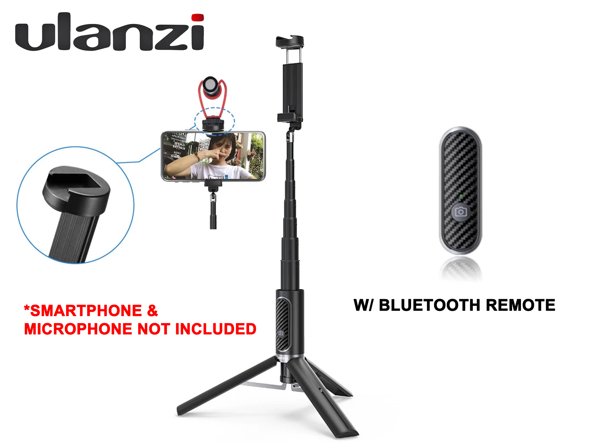 Ulanzi Selfie Tripod Stick with Bluetooth Remote