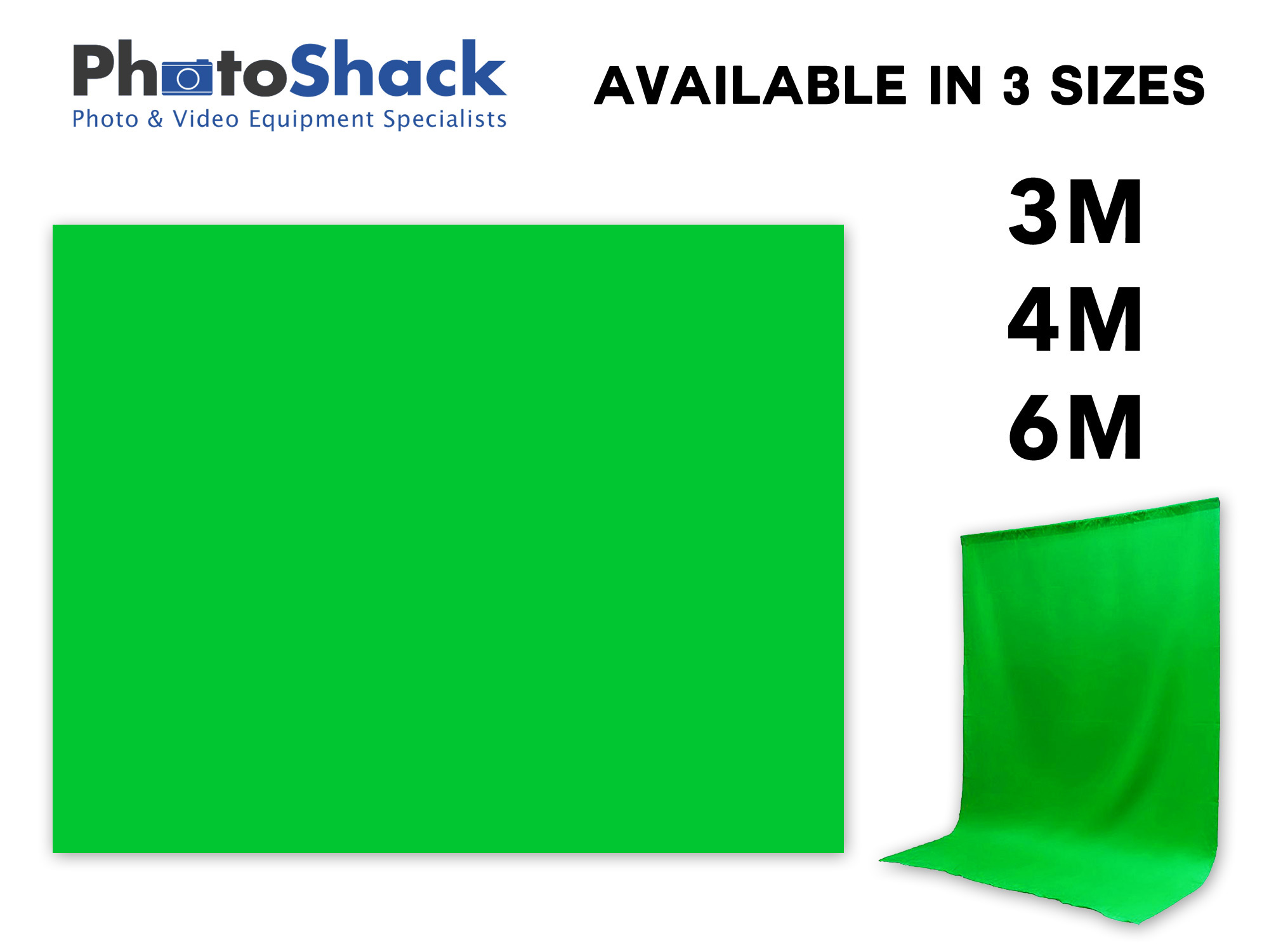 Chromakey Green Fabric Backdrop - 3 Available Sizes