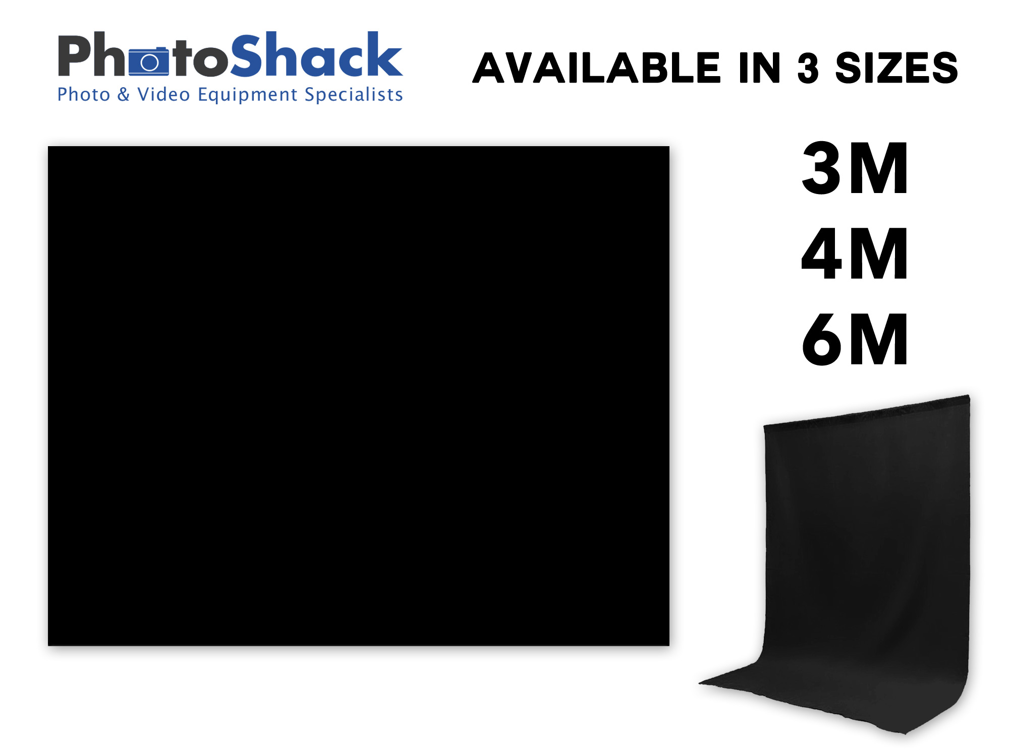 Black Fabric Backdrop - 3 Available Sizes