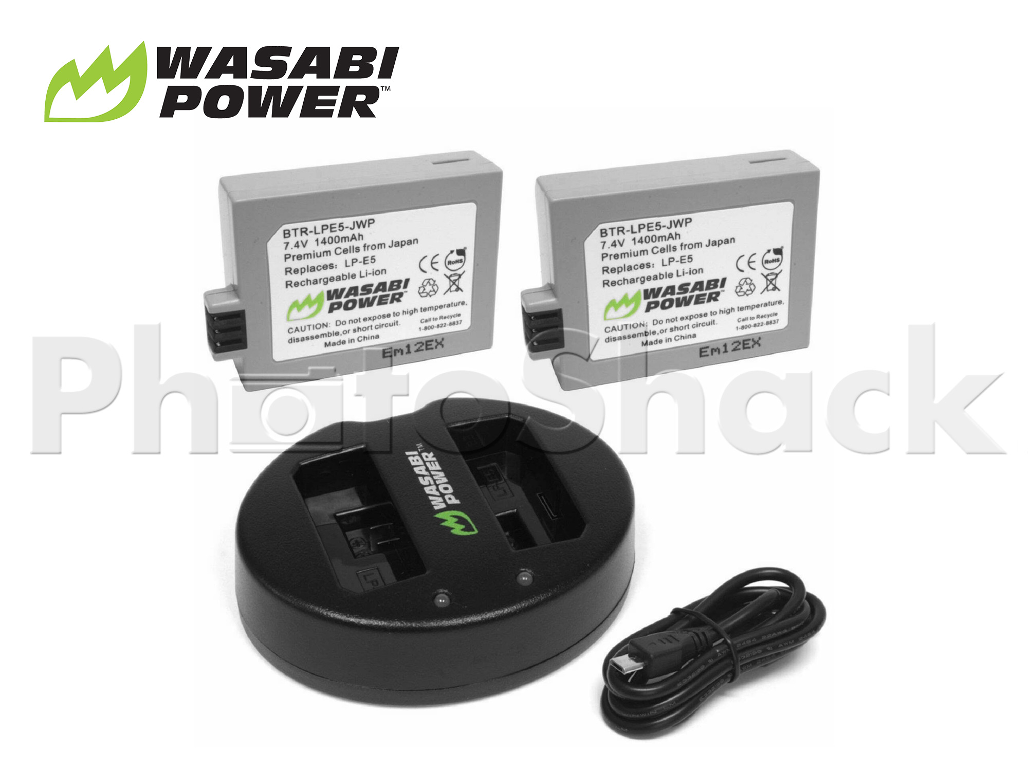 LPE5 Battery for Canon (2 Pack + Dual Charger) - Wasabi Power