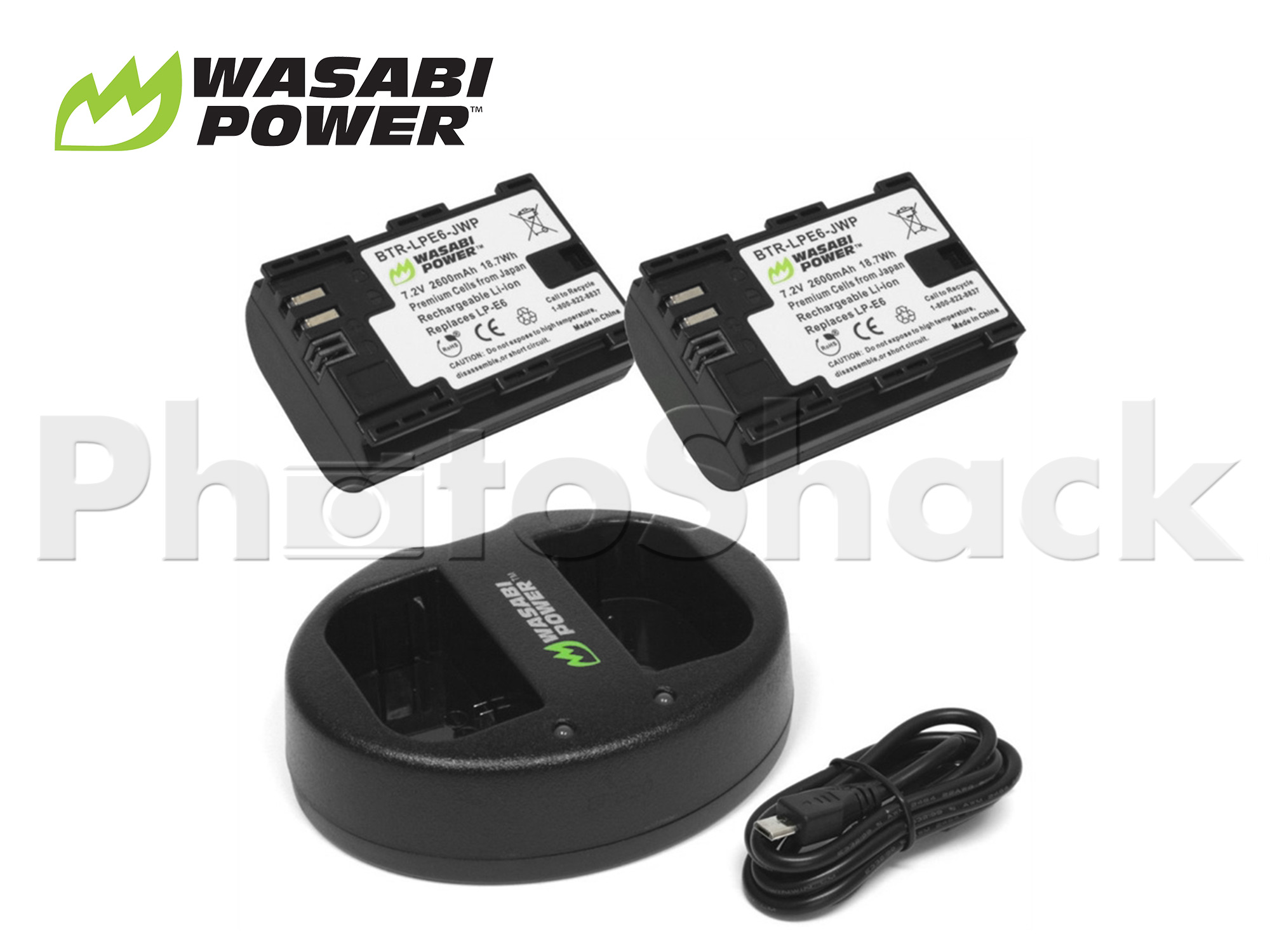 LPE6 Battery for Canon (2 Pack + Dual Charger) - Wasabi Power