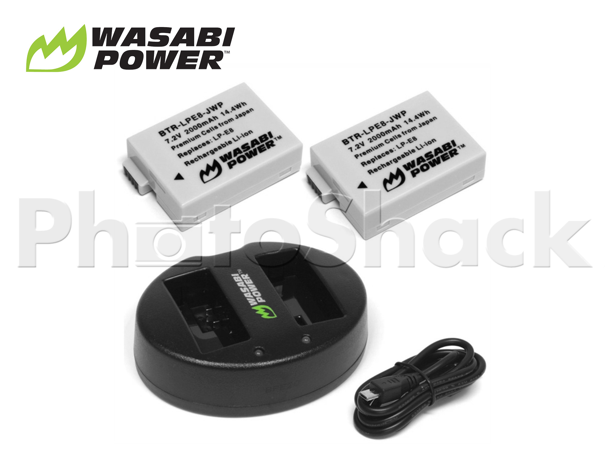 LPE8 Battery for Canon (2 Pack + Dual Charger) - Wasabi Power