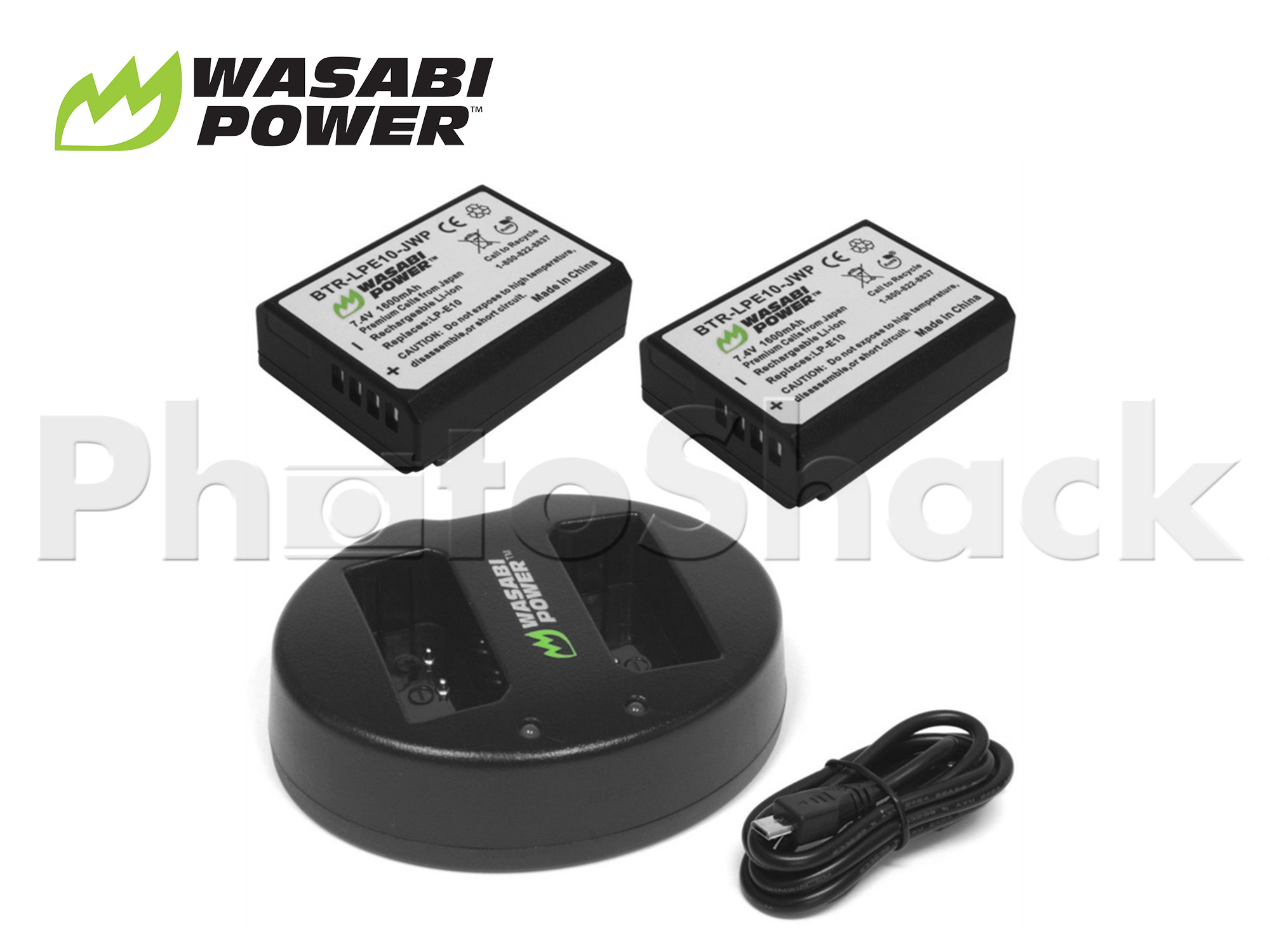 LPE10 Battery for Canon (2 Pack + Dual Charger) - Wasabi Power