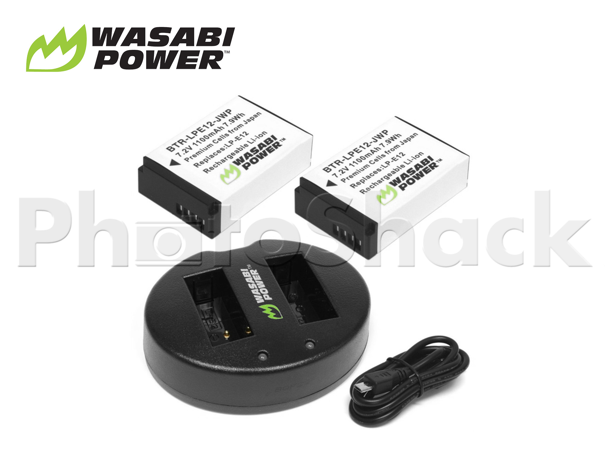 LPE12 Battery for Canon (2 Pack + Dual Charger) - Wasabi Power