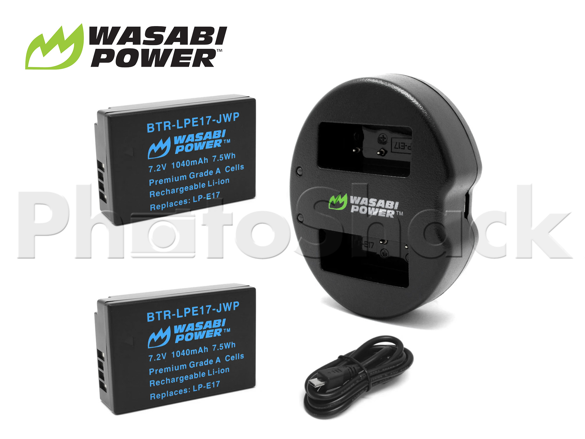 LPE17 Battery for Canon (2 Pack + Dual Charger) - Wasabi Power