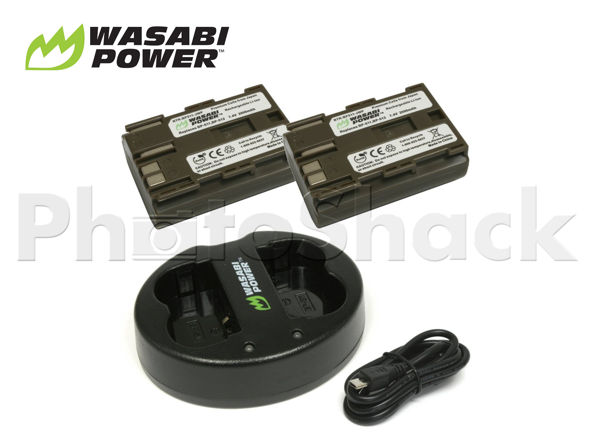 BP511 Battery for Canon BP-511(2 Pack + Dual Charger) - Wasabi Power