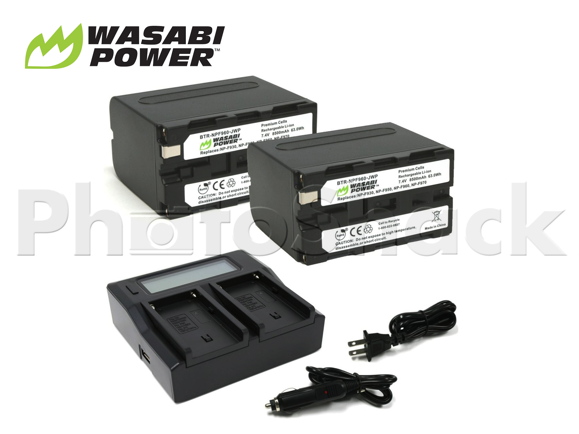 NP-F960 Battery for Sony & Blackmagic (2 Pack + Dual Charger) - Wasabi Power