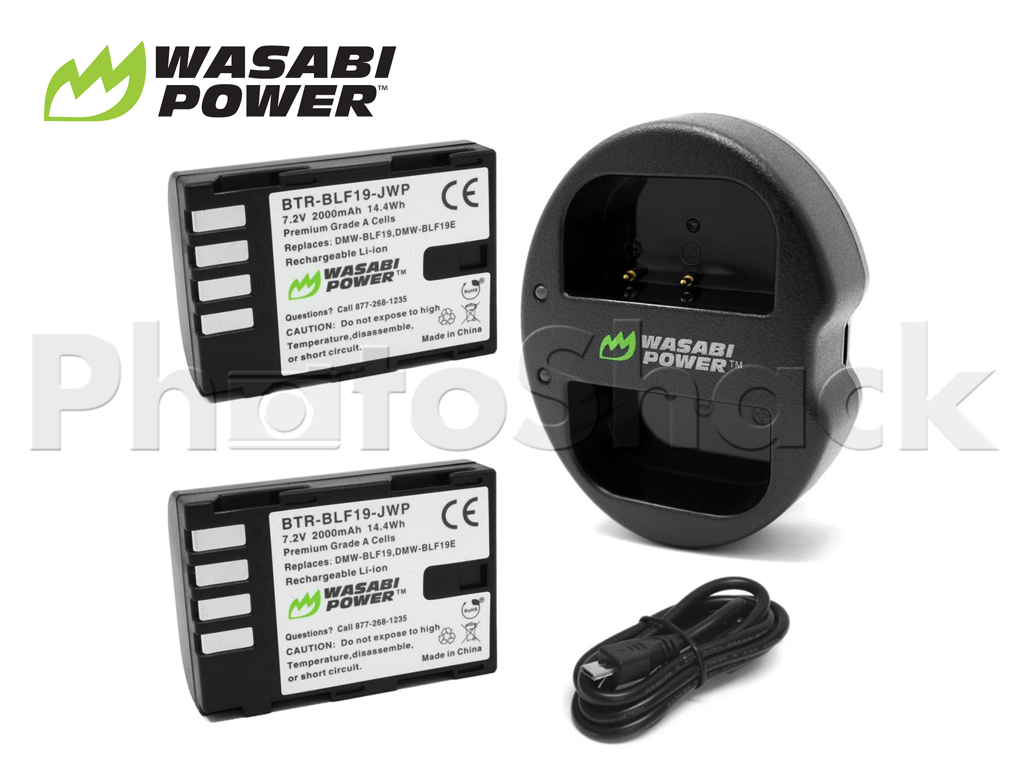 DMW-BLF19 Battery for Panasonic (2 Pack + Dual Charger) - Wasabi Power