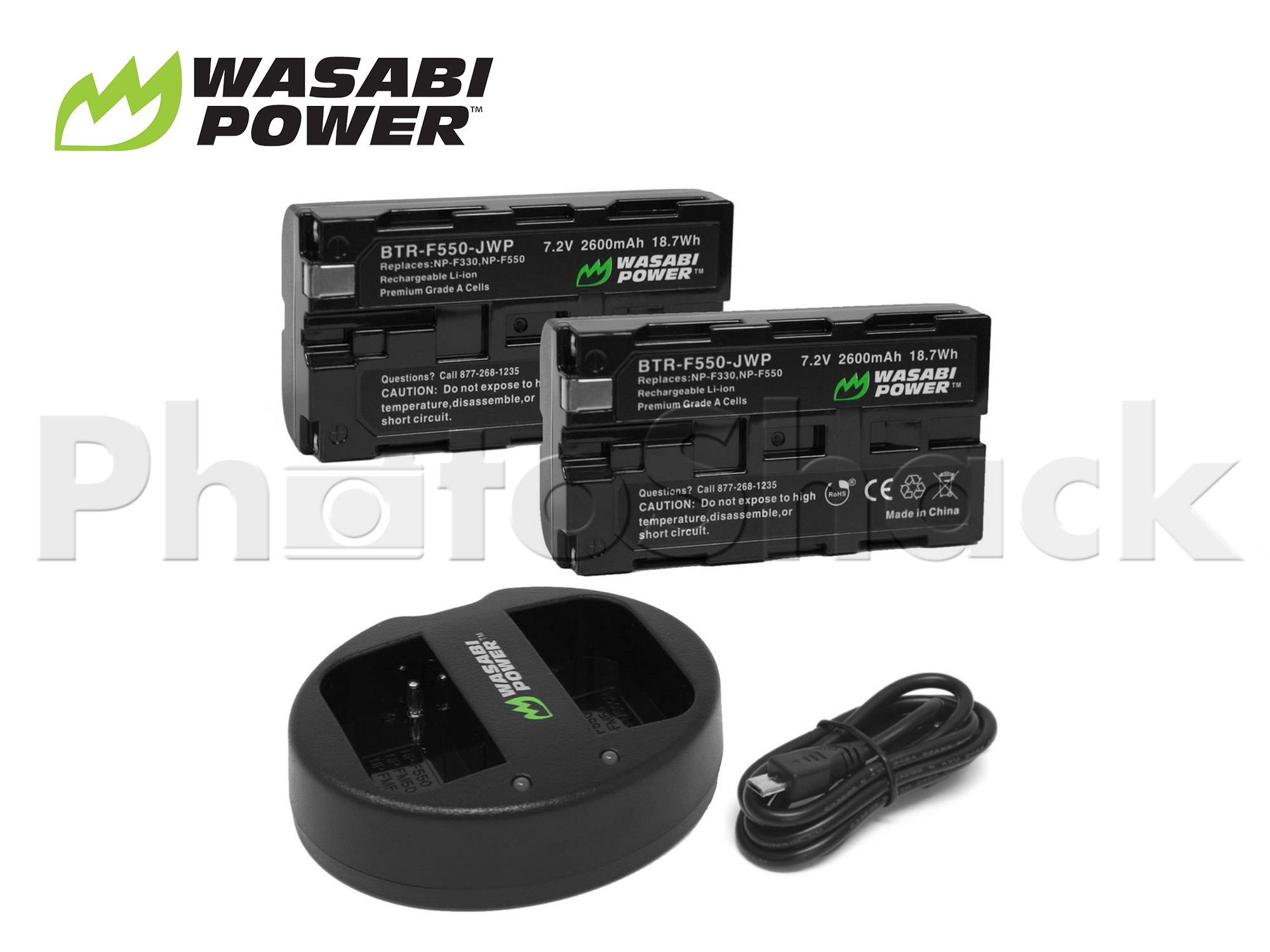 NP-F550 Battery for Sony & Blackmagic (2 Pack + Dual Charger) - Wasabi Power