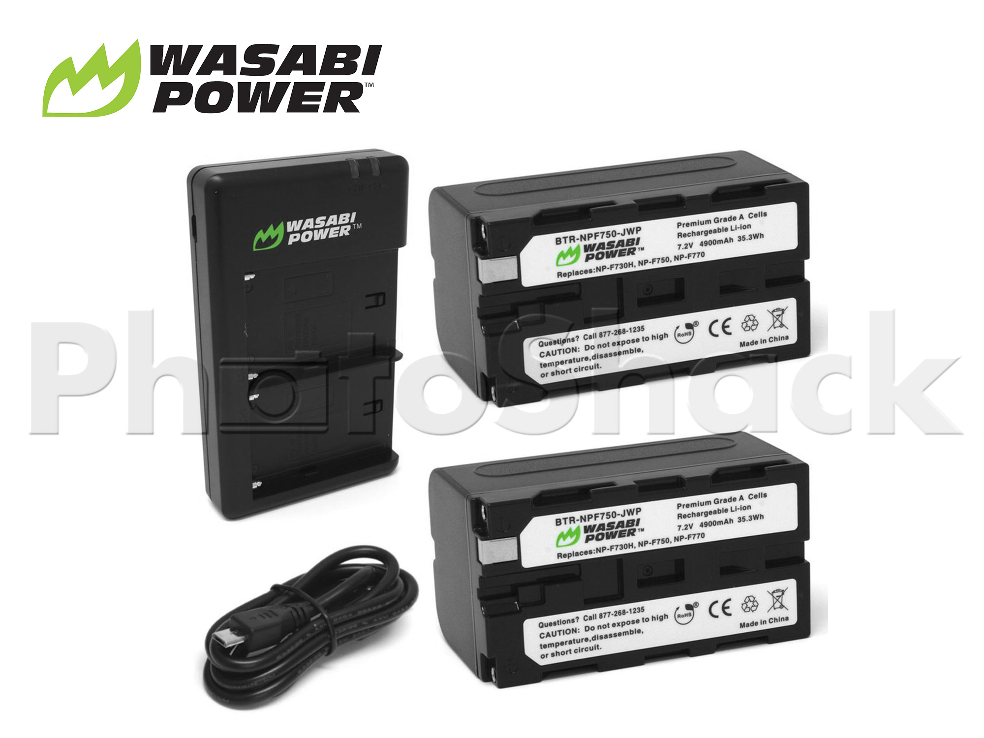 NP-F750 Battery for Sony & Blackmagic (2 Pack + Dual Charger) - Wasabi Power