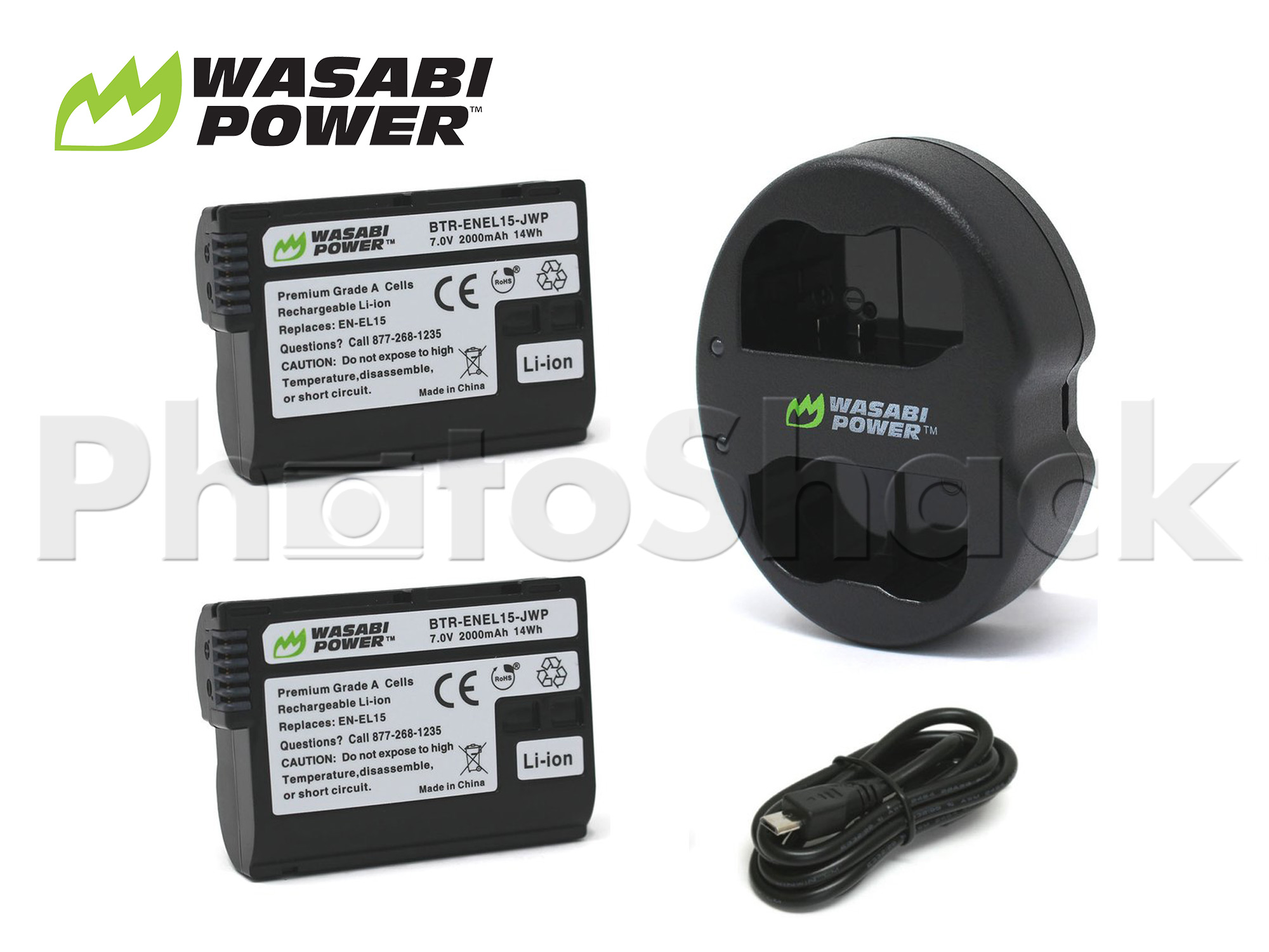 EN-EL15 Battery for Nikon (2 Pack + Dual Charger) - Wasabi Power