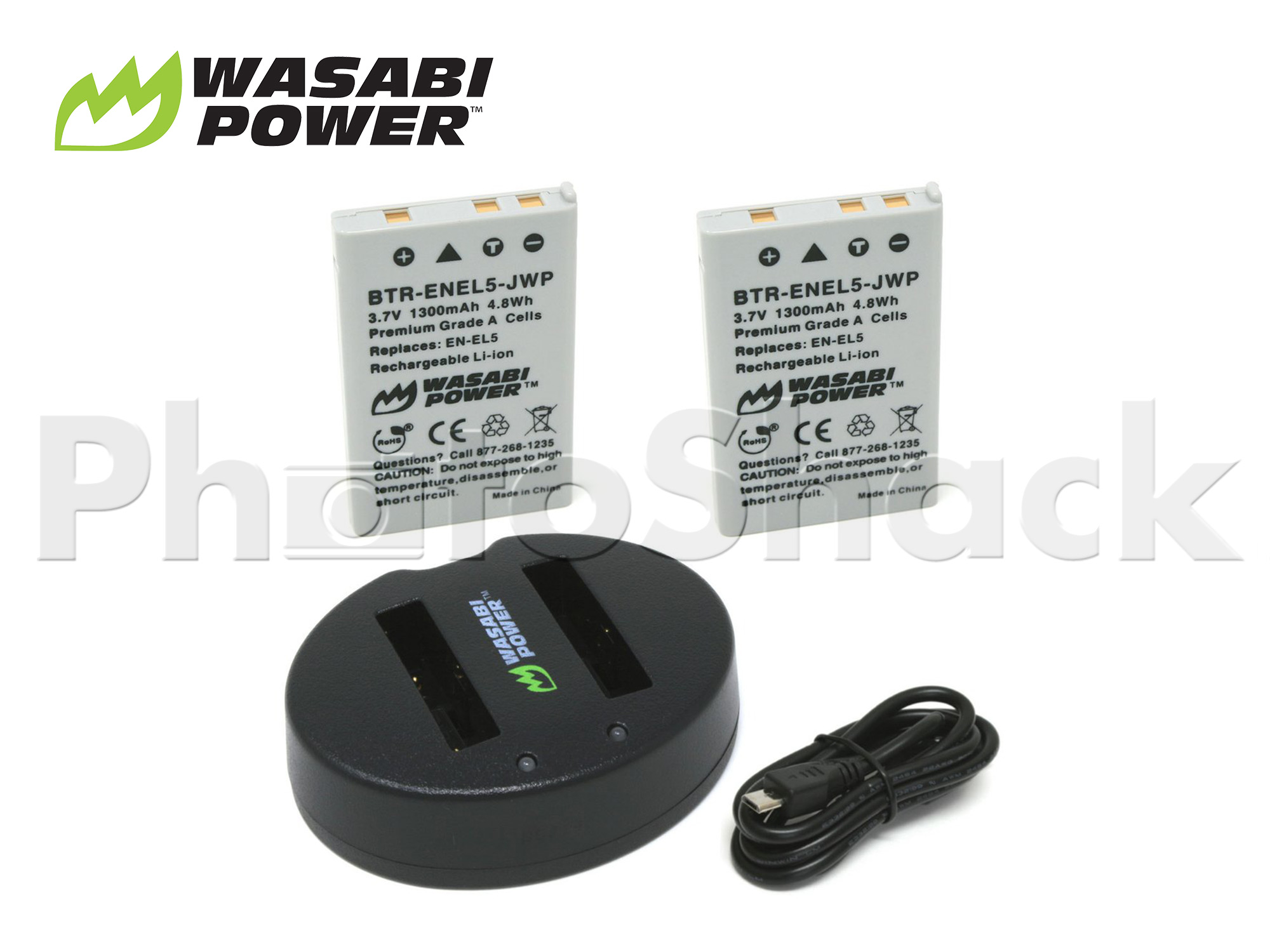 EN-EL5 Battery for Nikon (2 Pack + Dual Charger) - Wasabi Power