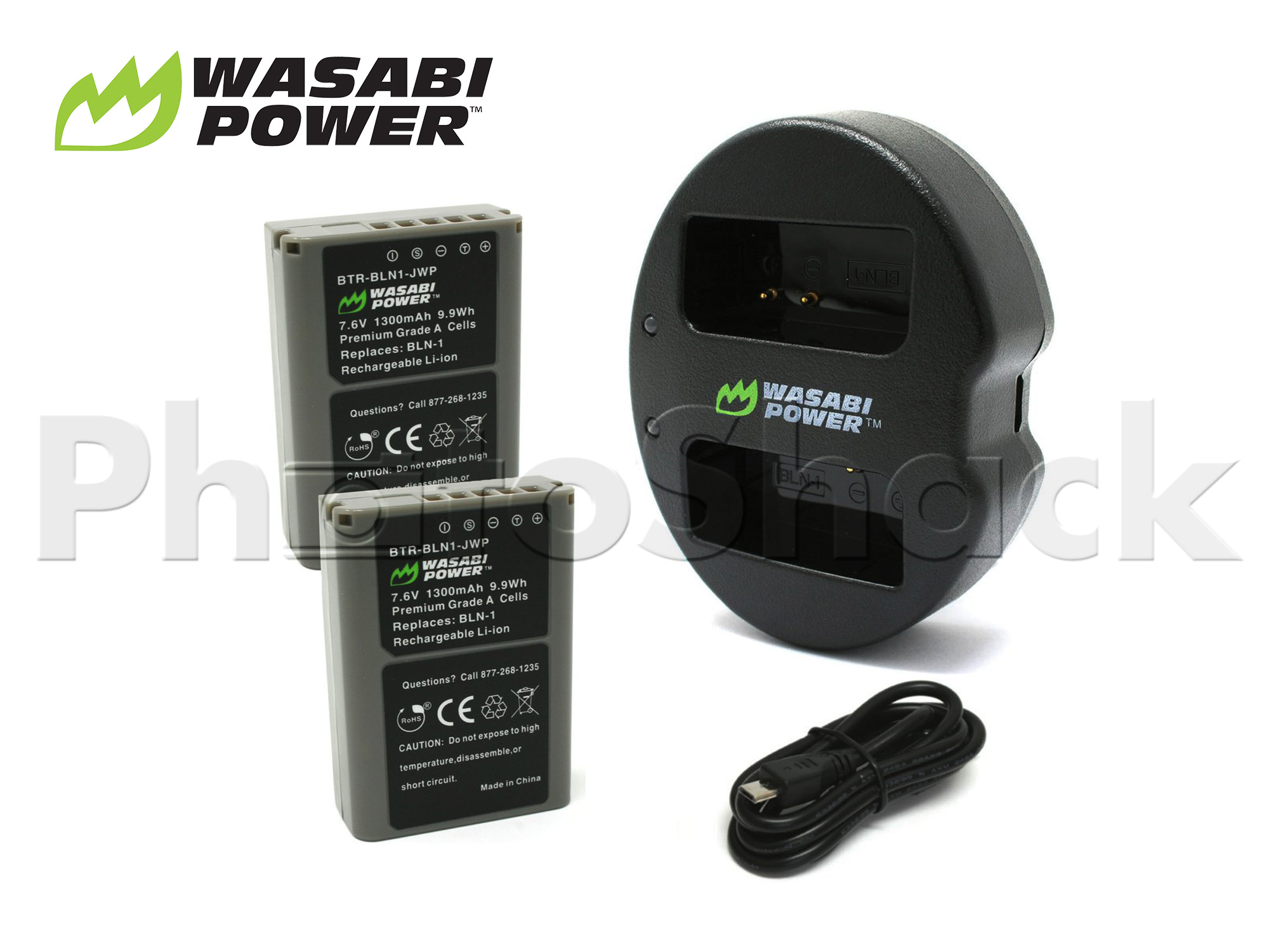 BLN-1  Battery for Olympus (2 Pack + Dual Charger) - Wasabi Power