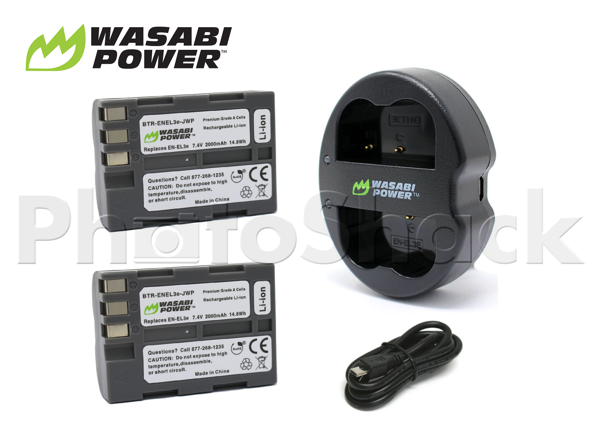 EN-EL3e Battery for Nikon (2 Pack + Dual Charger) - Wasabi Power