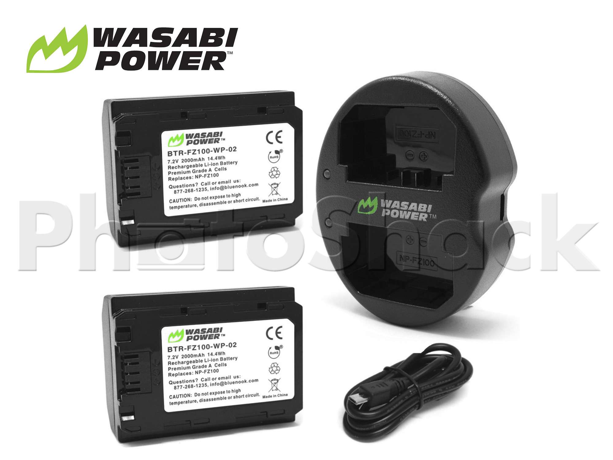 NP-FZ100 Battery for Sony (2 Pack + Dual Charger) - Wasabi Power