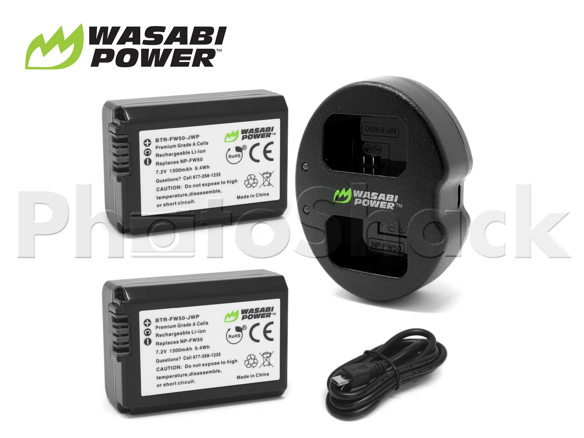 NPFW50 Battery for Sony (2 Pack + Dual Charger) - Wasabi Power