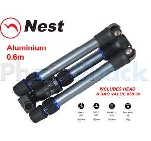 Nest 0.6m Aluminium Mini Tripod 2 section