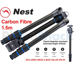 Nest 1.5m Carbon Fibre Tripod 4 section