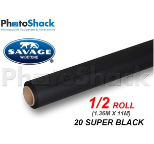 SAVAGE Paper Backdrop Half Roll - 20 Super Black