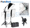 Continuous Lighting Set (1275W) with 3 Lights + Softboxes + Boom
